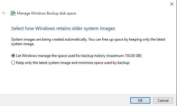 select how windows retains older system images