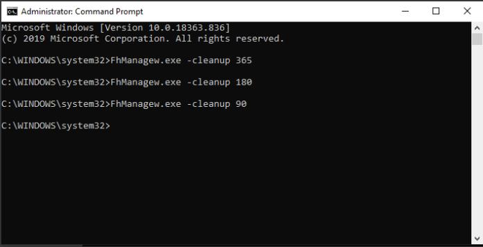 delete old backup files command