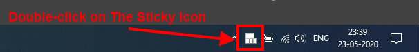 double-click on the sticky Icon
