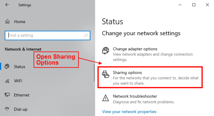sharing options in windows 10