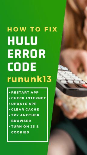 fix hulu error code rununk13