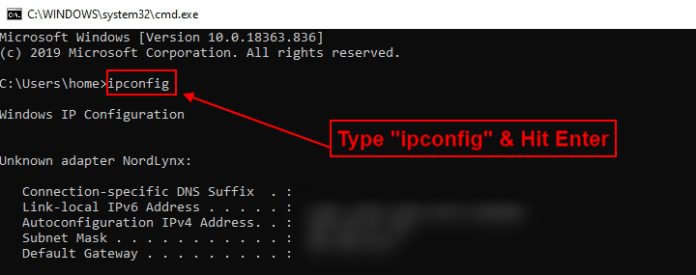 ipconfig command prompt