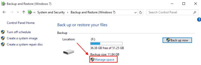 manage backup space windows 10