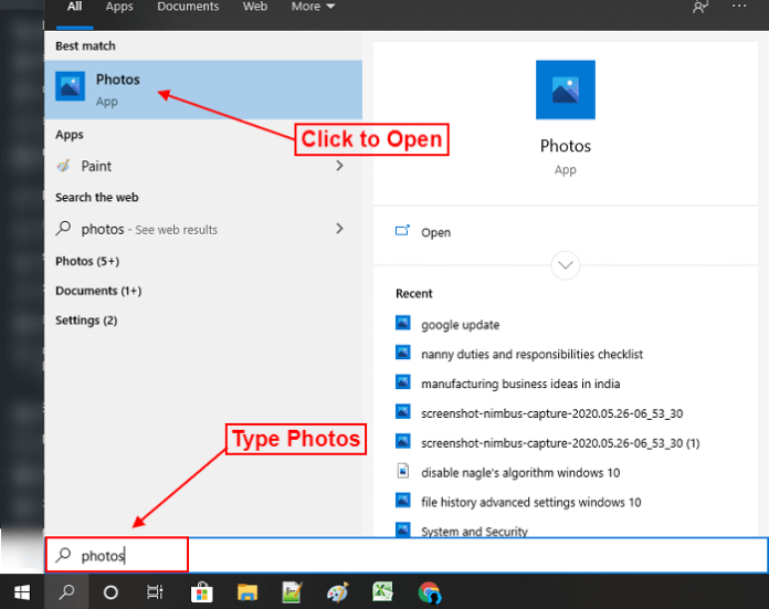 open photos app in your in windows 10