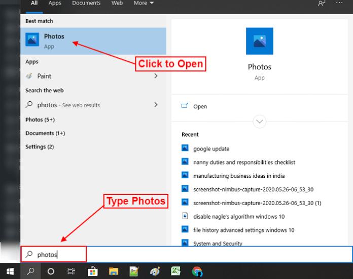 open photos app in your in windows 10