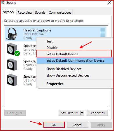 windows 10 set default sound device