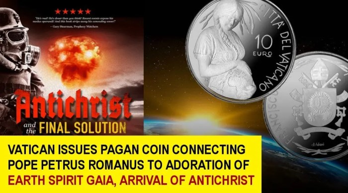 VATICAN ISSUES PAGAN COIN CONNECTING POPE PETRUS ROMANUS TO ADORATION OF EARTH SPIRIT, ARRIVAL OF ANTICHRIST FinalGaia