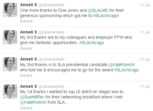 Anneli tweets her thanks to Sue Hill Recruitment, Kate Arnold, her colleagues and employer at Field Fisher Waterhouse, and Dow Jones and the SLA Leadership and Management Division