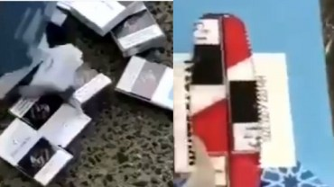 """بالفيديو.. إحباط محاولة تهريب سجائر في علب """" كلينكس """" إلى المملكة"""