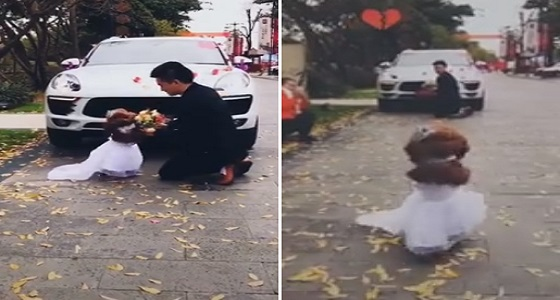 بالفيديو.. رد فعل كلب تقدم رجل لطلب يده
