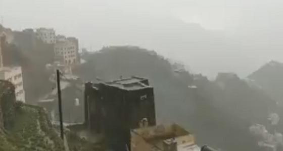 بالفيديو.. أمطار غزيرة وزخات برد على الداير بني مالك