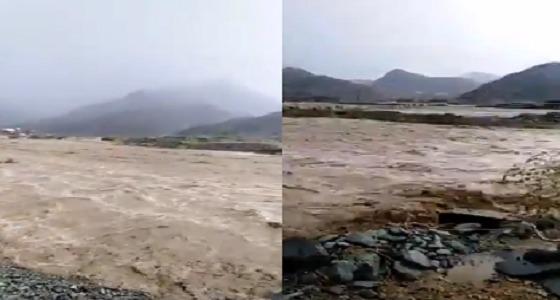 بالفيديو.. جريان السيول في الباحة بعد هطول الأمطار الغزيرة