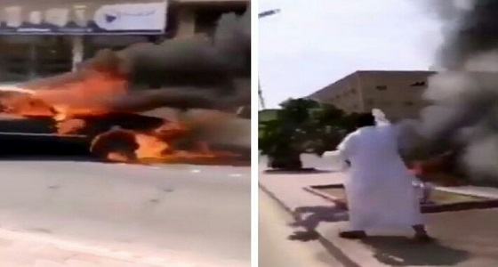 بالفيديو..لحظة إنقاذ مواطن عددا من المحلات بالخرج بعد اشتعال النيران فيها
