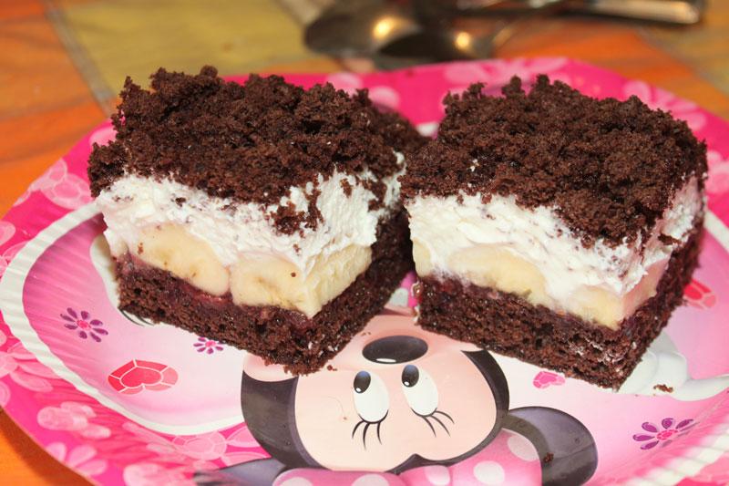 krtkov koláč, torta, banánová torta, tvarohovo šľahačkový koláč