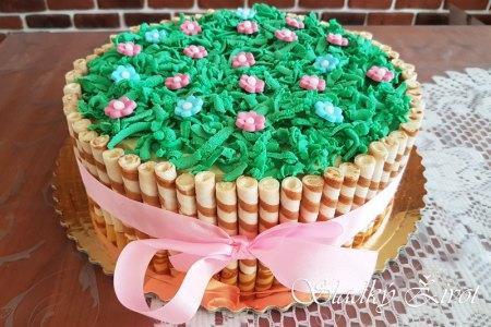mramorová torta s trubičkami