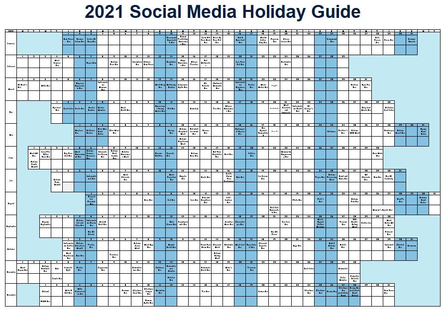 2021 social media holiday calendar  graphic