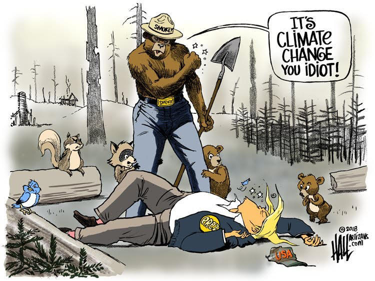 animal rescuers - Smokey the Bear and Donald Trump