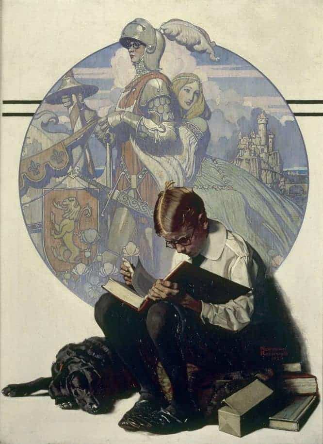 Boy Reading Adventure Story, 1923, Norman Rockwell; 1894-1978