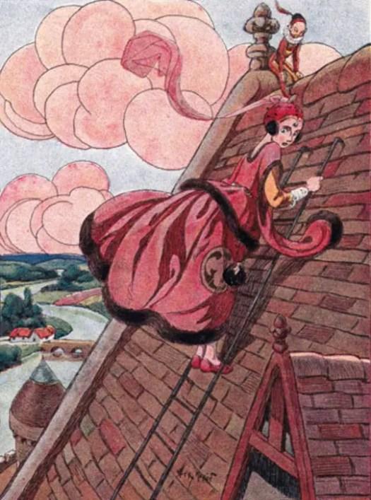 """Les douze lutins de la princesse Mab, by Jérôme Doucet. Illustrated by Henry Morin. Librairie Hachette, Boulevard Saint-Germain, Paris. .1930. """"Mab gravit l'étroite échelle"""""""