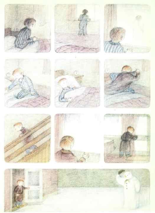 There are a lot of images of the front door and the boy's bedroom window in The Snowman by Raymond Briggs.
