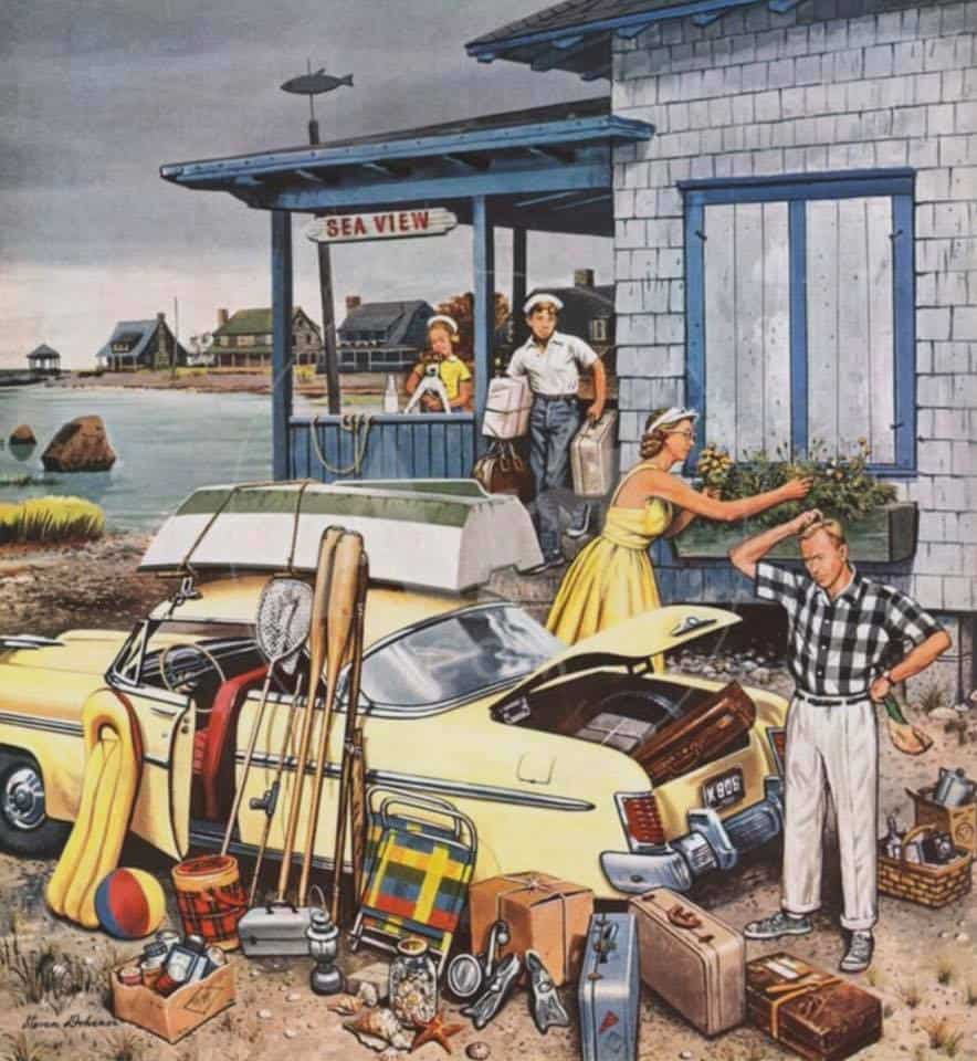 """Packing the Car"" by Stevan Dohanos, (cover art for The Saturday Evening Post, September 8, 1956"