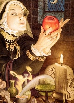 Most illustrators depict the Queen giving Snow White the poisoned apple, but sometimes we see the Queen privately preparing her evil plan.