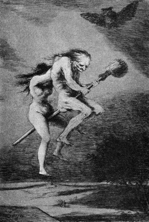 Francisco Goya's depiction of witches going to Sabbath on a broomstick