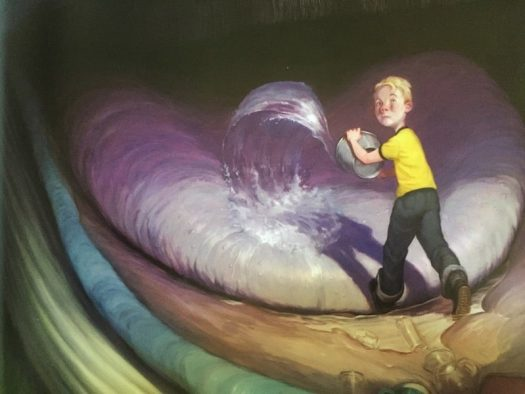 Billy Twitters and the Blue Whale has some very interesting examples of framing. Here, the main character is framed by a whale's mouth, as he enters the 'portal' of personal space.