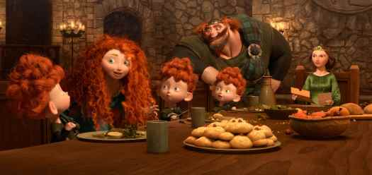 """""""BRAVE"""" (L-R) MERIDA amongst the triplets: HARRIS, HUBERT and HAMISH; KING FERGUS and QUEEN ELINOR. ©2012 Disney/Pixar. All Rights Reserved."""
