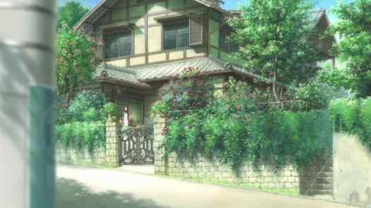 This is the first we see of Makoto's house — peeking from behind a pole.