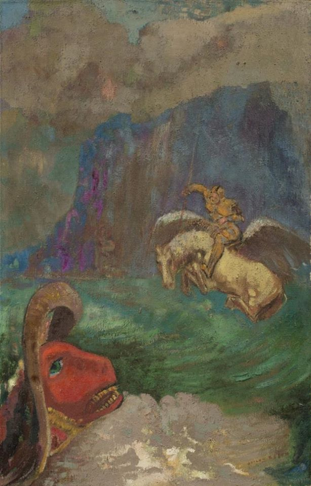 Odilon Redon (France, 1840 -1916), Roger and Angelique (Saint George and the Dragon or Andromeda saved), after 1908, oil on canvas