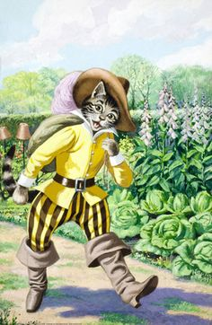 Puss in Boots, Ladybird edition. This image is also used on the cover, although we've already seen the cat, this is where the story becomes his.