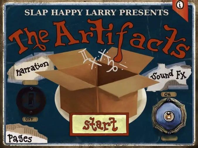 The Artifacts cardboard box main menu