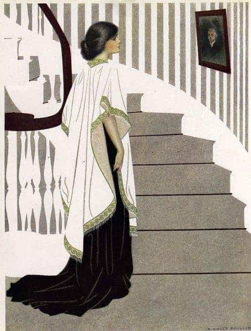 C. Coles Phillips (American artist and illustrator, 1880-1927) stairs