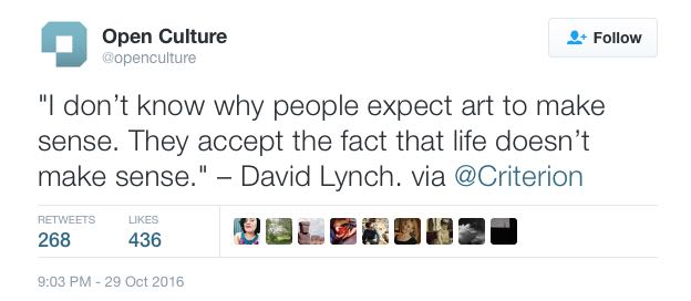 This explains David Lynch's storytelling philosophy