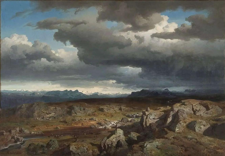 Hans Fredrik Gude (1825 - 1903) Norwegian Mountains, 1856