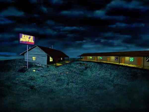 Establishing shot of the Katz Motel.