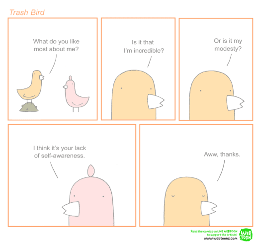 anagnorisis parodied in a Trash Bird comic