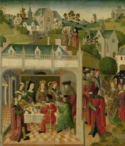 Wedding Feast of Saint Elizabeth of Hungary and Louis of Thuringia in the Wartburg, inner left wing of an altarpiece made for the Grote Kerk in Dordrecht, Master of the St Elizabeth Panels, c. 1490 - c. 1495. When creating the illustrations for his award-winning illustrated picture book Rapunzel, Zelinksy was thinking of Medieval art.
