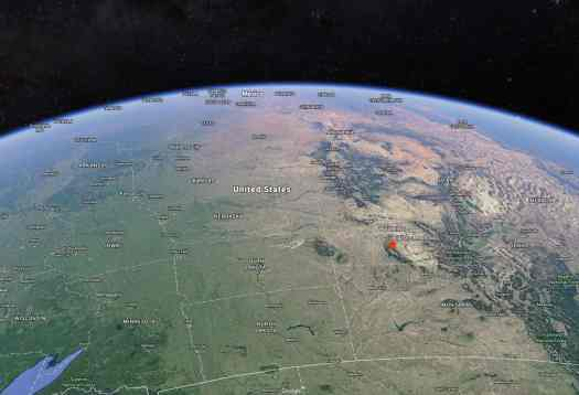 "Satellite view of the Bighorn Mountains, where ""The Half-Skinned Steer"" is set."