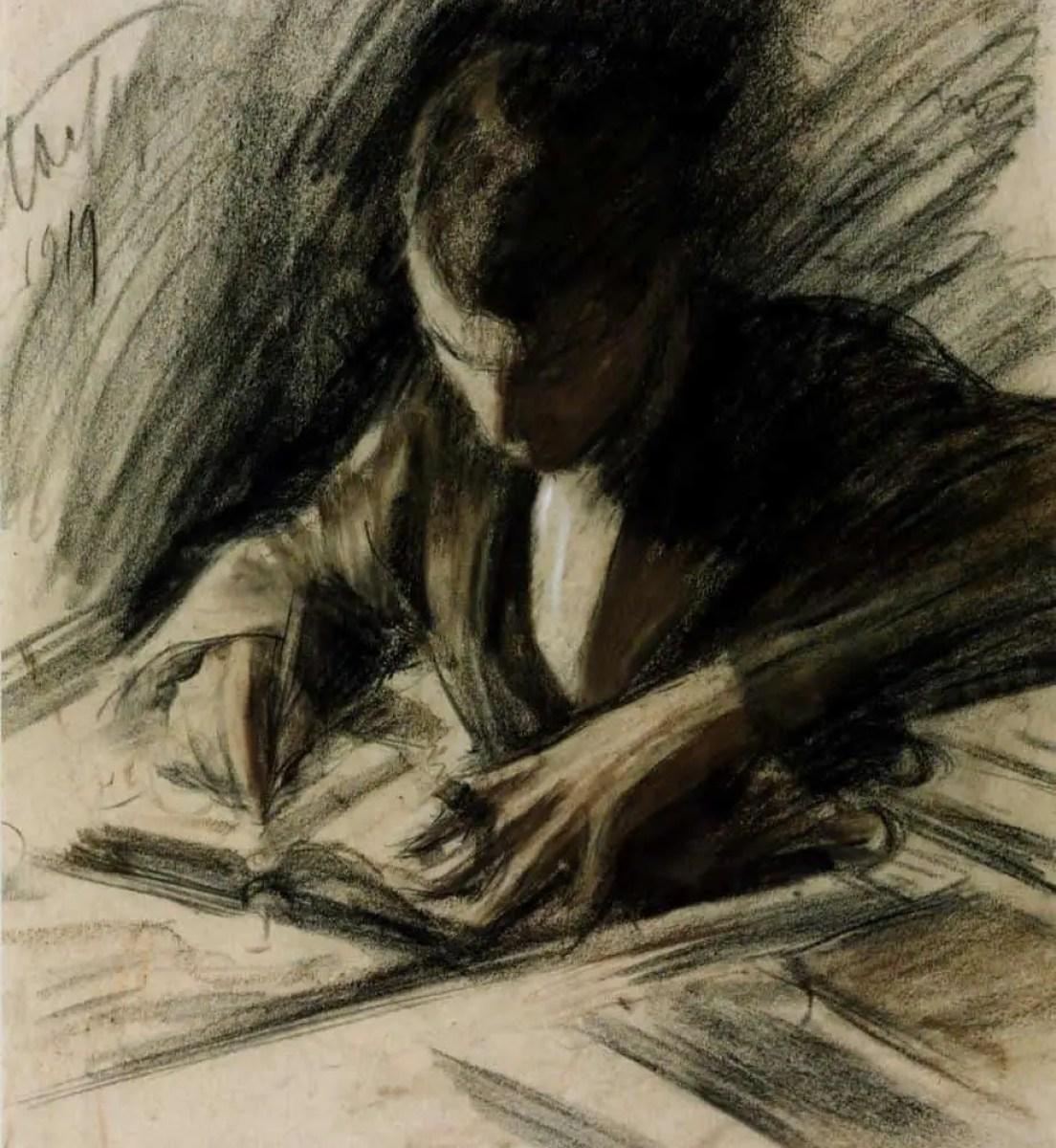 Leonid Pasternak Boris Pasternak Writing 1919