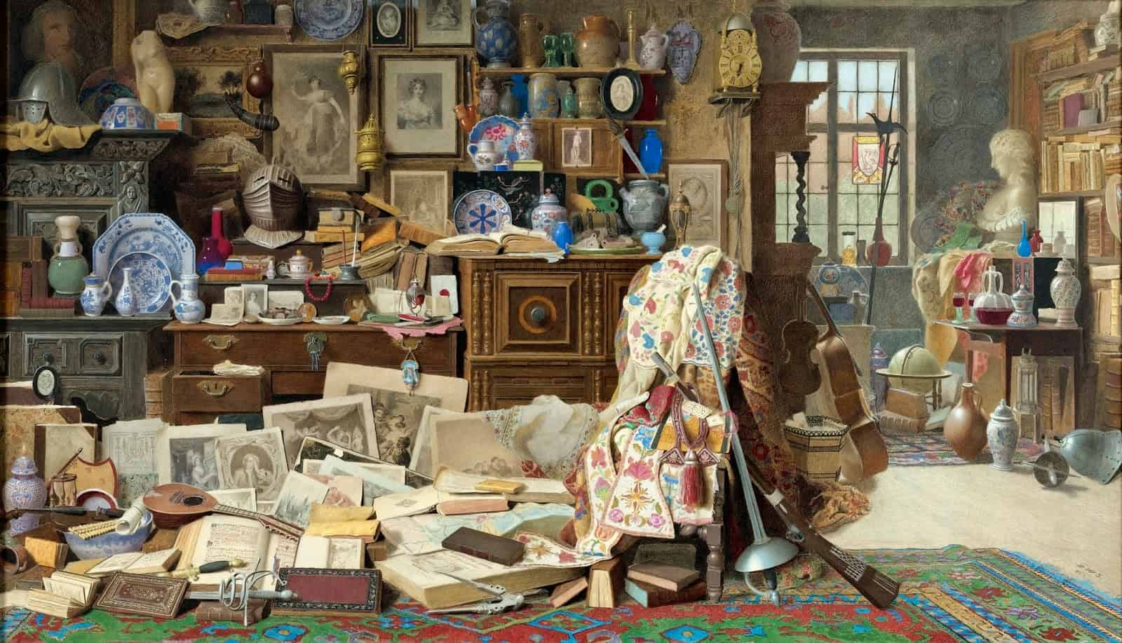 Benjamin Walter Spiers - _Old armour, prints, pictures, pipes, China (all crack'd), old rickety tables, and chairs broken back'd_ Thackeray