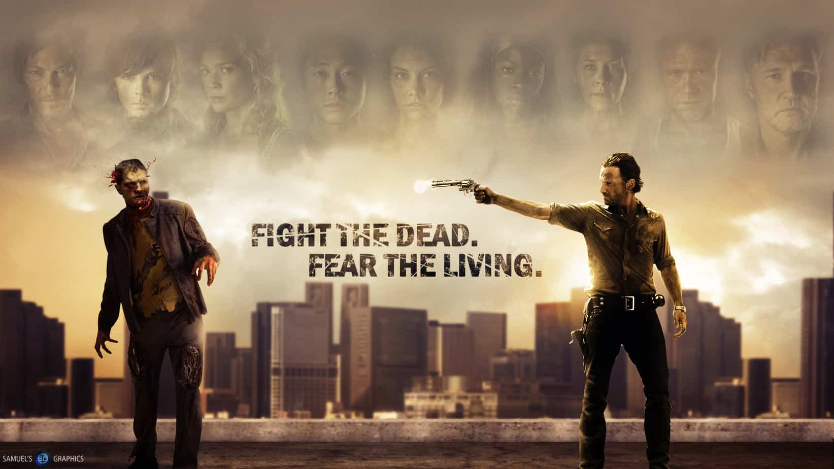 Fight The Dead Fear The Living image from the zombie series The Walking Dead