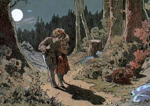 Hansel and Gretel follow the bread crumbs