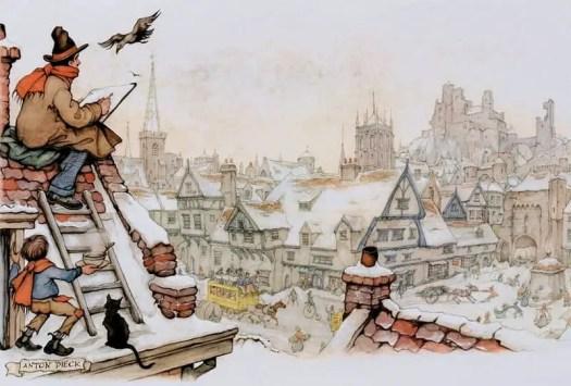 Artist-on-the-Roof-1950-From...The-Amsterdam-Series-1940-50s-Anton-Pieck-Dutch-PainterGraphic-ArtistIllustrator