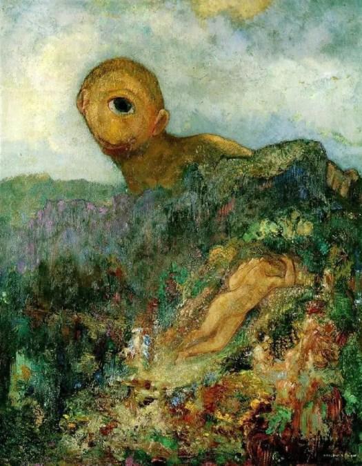 Odilon Redon, Le Cyclope, v. 1914. Huile sur carton, 65,8×52,7cm, musée Kröller-Müller, Otterlo