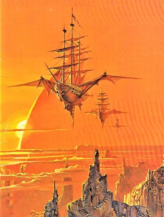 "Bruce Pennington (born 1944) 1973 book cover illustration for ""Sky Pirates of Callisto"" by Lin Carter"