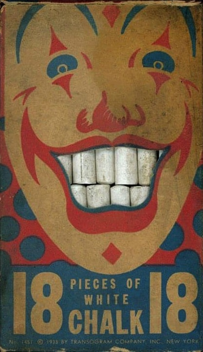 Clown chalk packaging copyright notice reads 1938