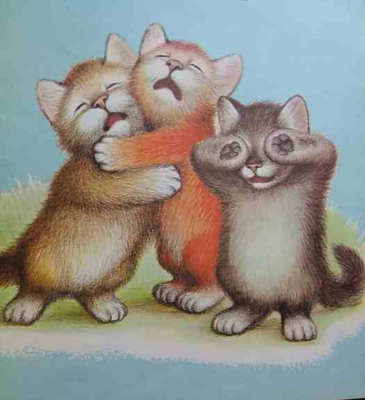 """Garth Williams. Golden Press, 1958. """"Three Bedtime Stories"""" three crying cats"""
