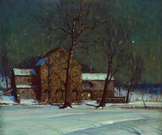 George William Sotter (1879 - 1953) Barn on a Winter's Night
